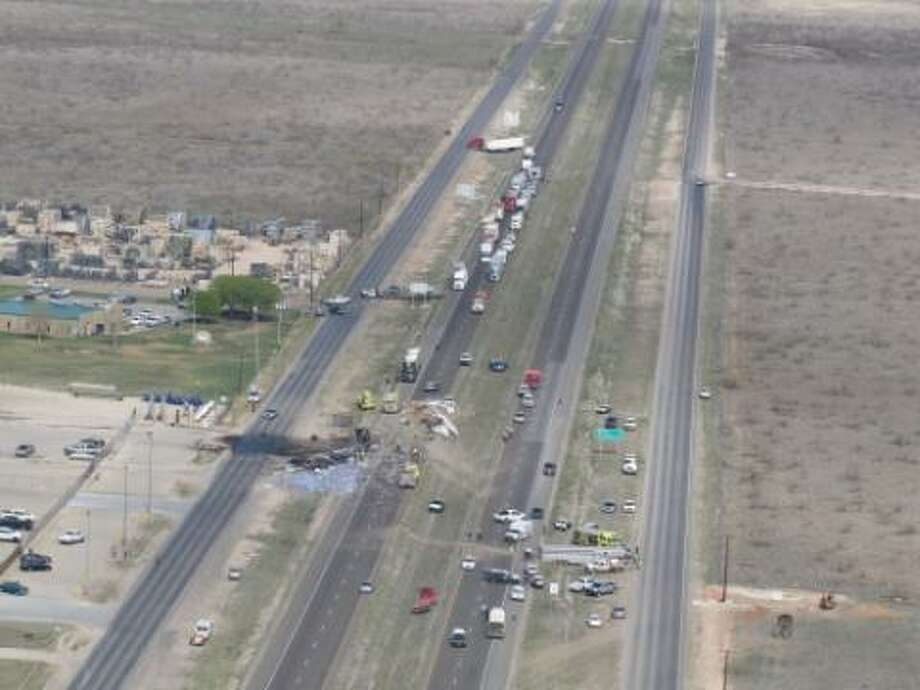 A 2012 aerial file photo of a multiple fatality accident on I20.