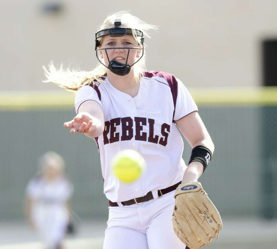 Lee's Emily Hardaway throws a pitch during the first inning of the Lady Rebels game against Permian, Thursday during their game at Gene Smith Field. Cindeka Nealy/Reporter-Telegram Photo: Cindeka Nealy