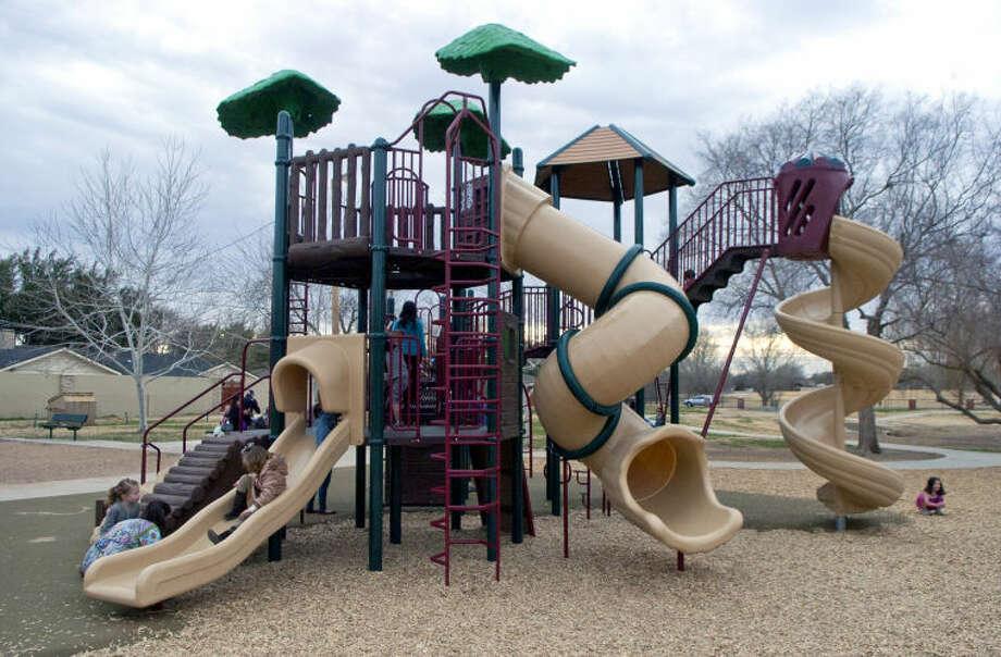 General view of the newly renovated playground equipment in Grafa Park Friday. James Durbin/Reporter-Telegram Photo: JAMES DURBIN