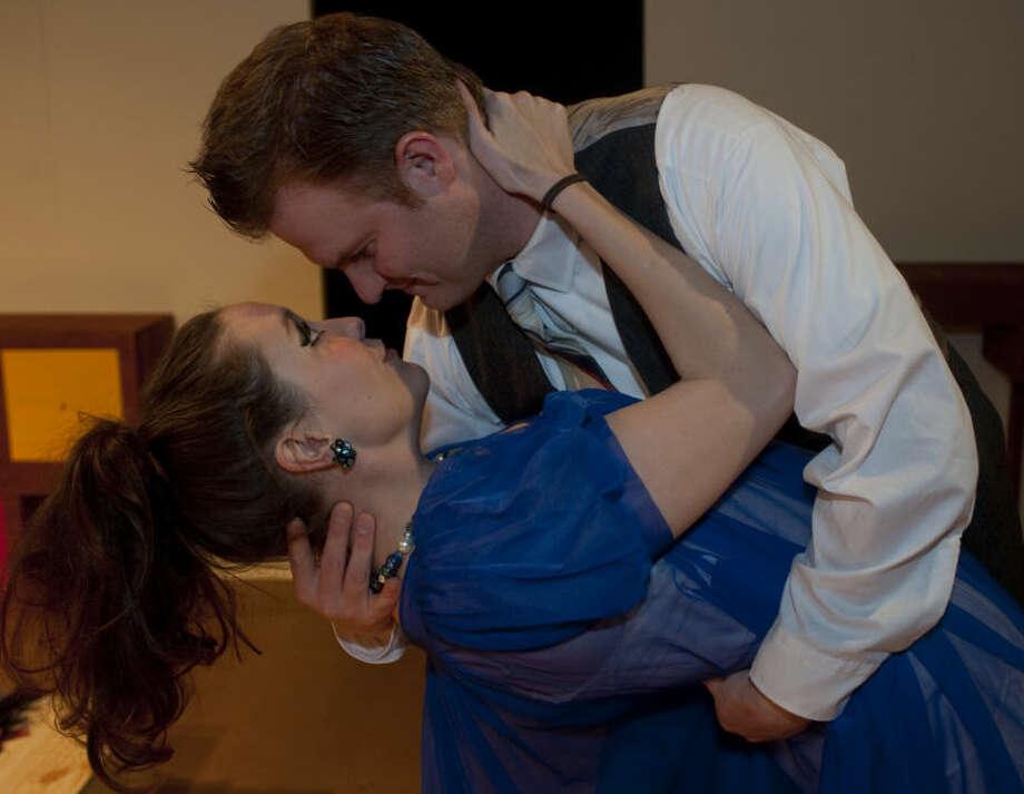 "Mark Kaufman as Benard embraces Jacqueline, Baily Beard, in MCT's production of ""Boeing, Boeing."" Tim Fischer\Reporter-Telegram Photo: Tim Fischer"
