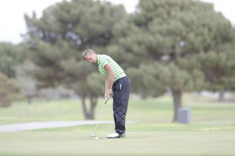 Midland College's Luke Richardson putts on the green at three Monday during the Omega Treating Chemicals Midland College Invitational at Green Tree Country Club. Cindeka Nealy/Reporter-Telegram Photo: Cindeka Nealy