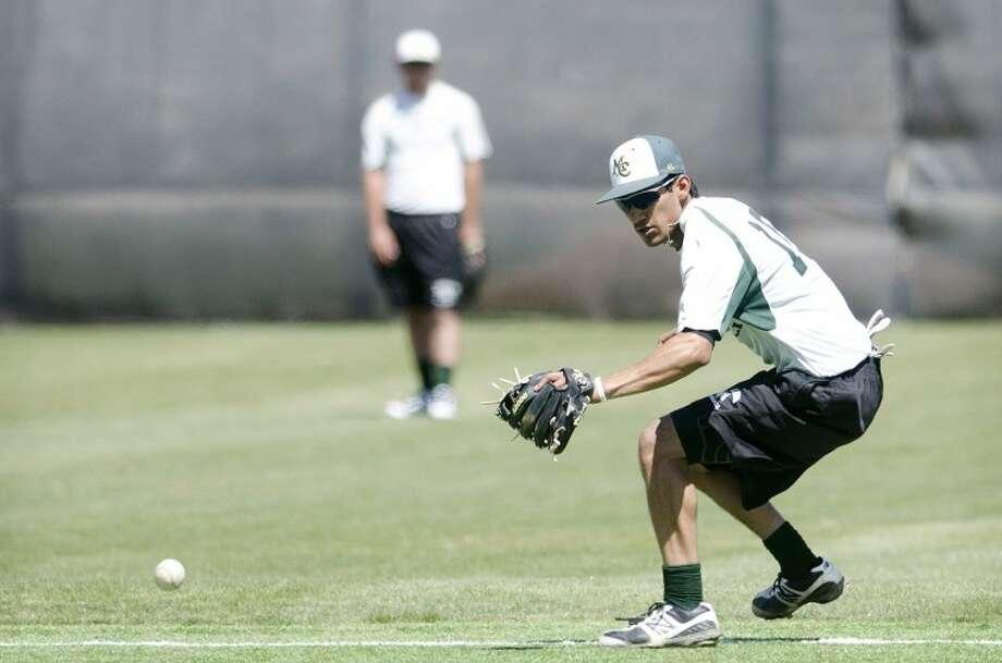 Midland College second baseman Matt Reyes chases a ball during practice Thursday at Christensen Stadium. Cindeka Nealy/Reporter-Telegram Photo: Cindeka Nealy