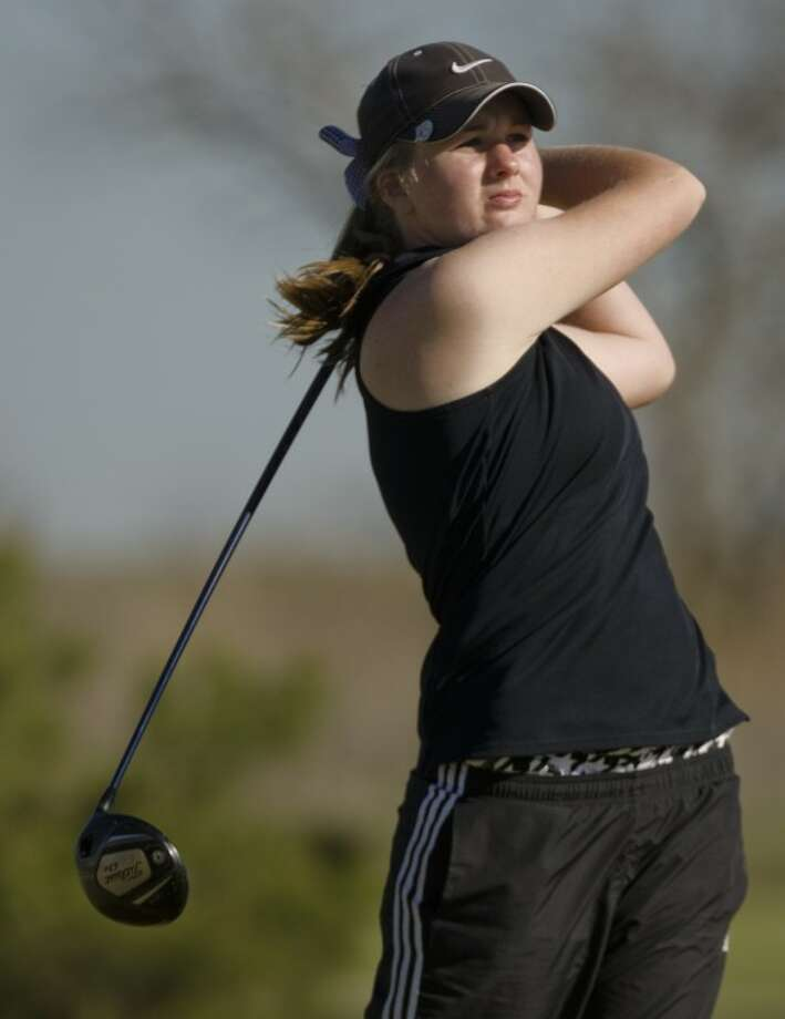 Andrews' Sarah Black follows her shot during the District 4-3A golf tournament earlier this year at Hogan Park. Black and the Lady Mustangs will look to defend their Class 3A state title, beginning Thursday in Austin. Photo: Tim Fischer