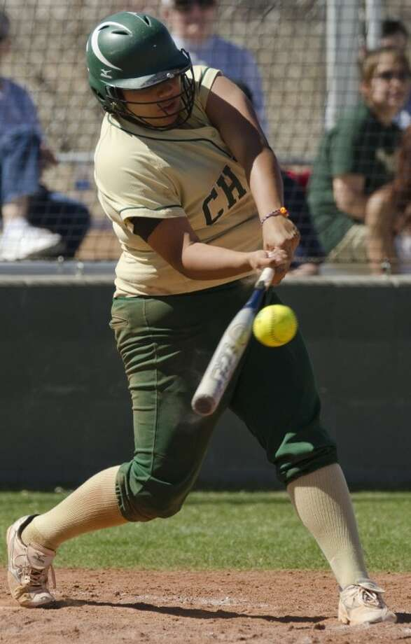 Midland College's Gee Estrada connects for a hit earlier this month against Clarendon College. Photo by Tim Fischer/Midland Reporter-Telegram Photo: Tim Fischer
