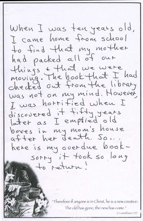 An anonymous, hand-written letter explains why an overdue book was returned to the Midland County Library 50 years late.
