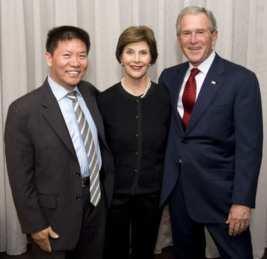 Midlander Bob Fu, founder of ChinaAid Association, met with former President George W. Bush and Laura Bush Wednesday during the unveiling of the online Freedom Collection put together as part of the George W. Bush Institute in Dallas. Fu is one of those featured in the collection.