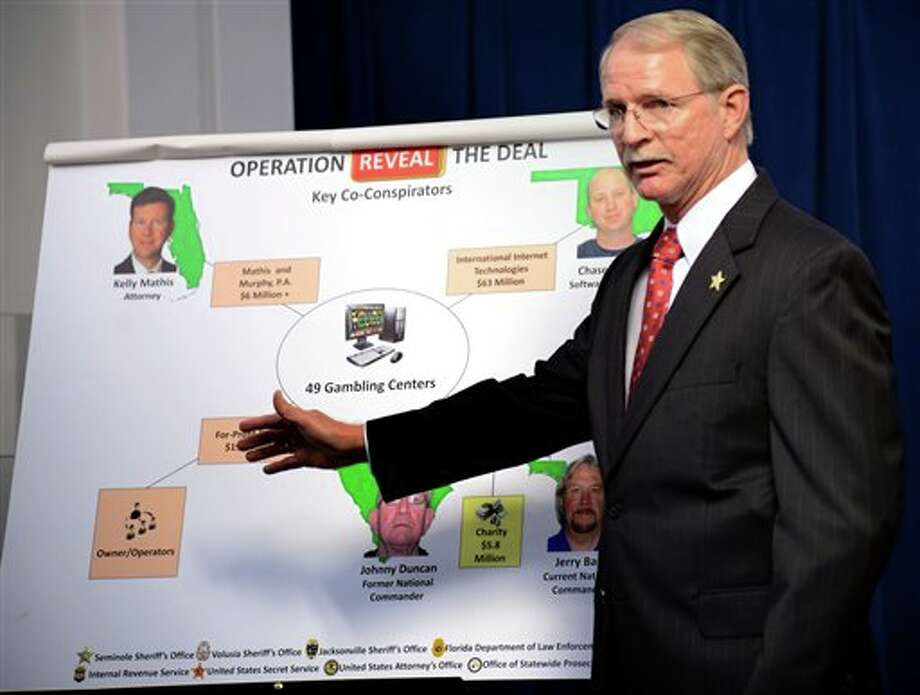"Jacksonville (FL) Sheriff John Rutherford describes a chart showing the key co-conspirators in the operation ""Reveal the Deal"", an investigation of illegal operations and racketeering by Allied Veterans of the World. The news conference was held inside the Jacksonville Sheriff's Office in Jacksonville, Fla. on Wednesday March 13, 2013. (AP Photo/The Florida Times-Union, Bob Mack) Photo: Bob Mack / The Florida Times-Union"