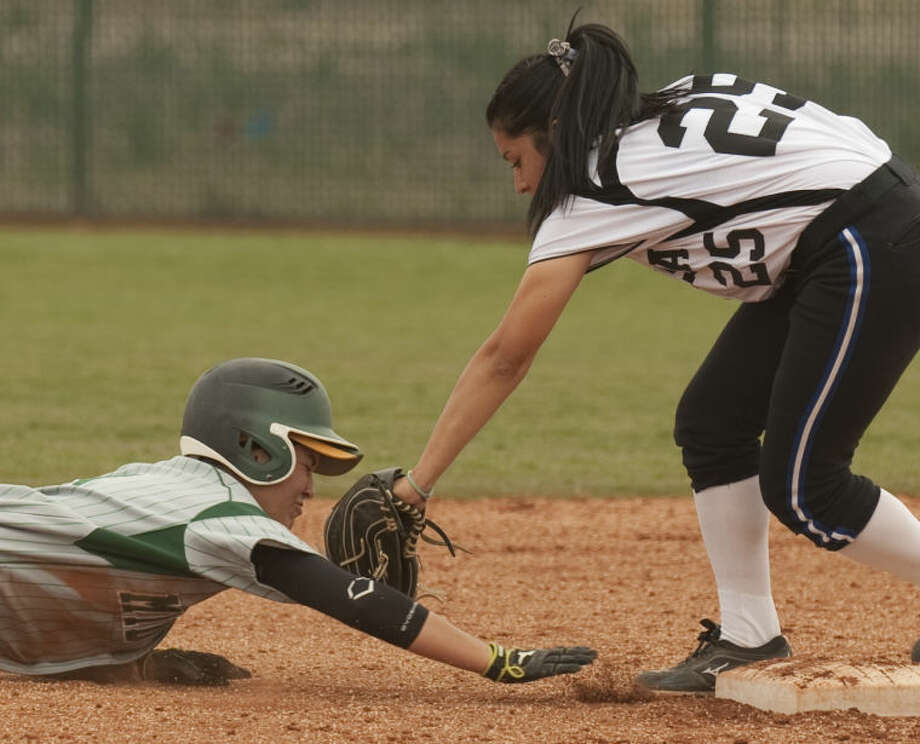 Odessa College's Sammie Murrietta makes the tag for an out after Midland College's Taylor Daniels overslides second base Friday afternoon at MC. Tim Fischer\Reporter-Telegram Photo: Tim Fischer