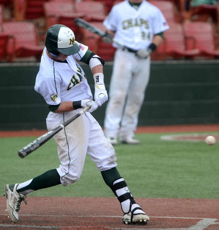 Midland College's Blair Beck hits against Howard College Friday at Christensen Stadium. James Durbin/Reporter-Telegram Photo: JAMES DURBIN
