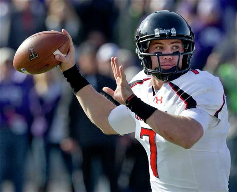 (File Photo) Texas Tech quarterback Seth Doege throws a pass during the first half of an NCAA college football game against Kansas State in Manhattan, Kan., Saturday, Oct. 27, 2012. (AP Photo/Orlin Wagner) Photo: Orlin Wagner / AP