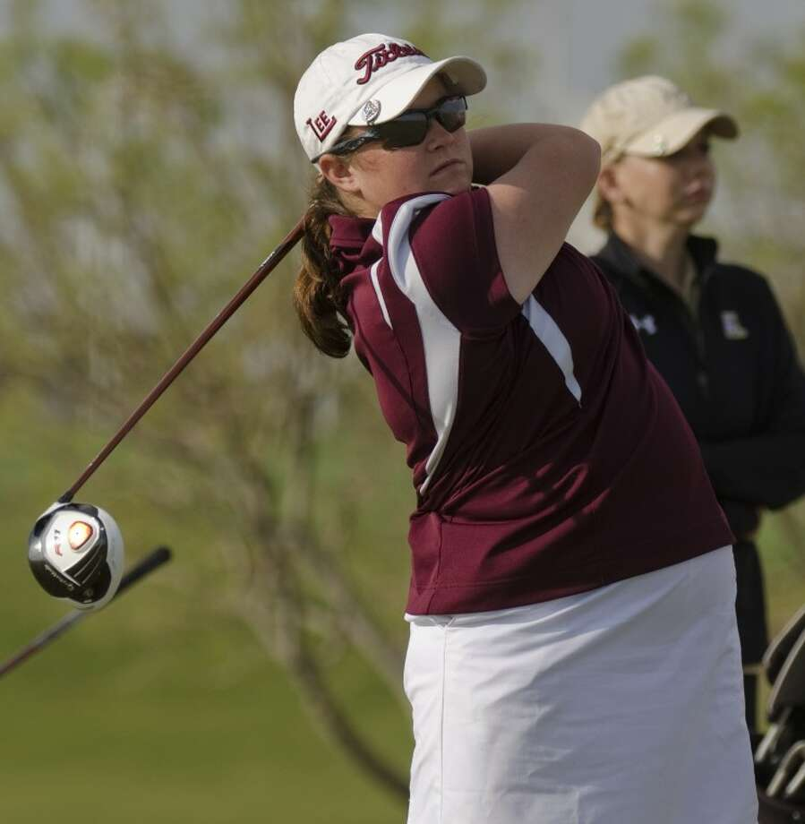 Lee High's Libby Thomas watches her tee shot Wednesday during District 3-5A girls golf tournament at Ratliff Ranch Golf Links. Photo by Tim Fischer/Midland Reporter-Telegram Photo: Tim Fischer