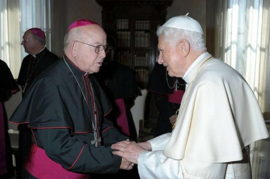 Pope Benedict XVI greets Bishop Michael D. Pfeifer of San Angelo during a March 16 meeting at the Vatican. Photo: L'Osservatore Romano/CNS