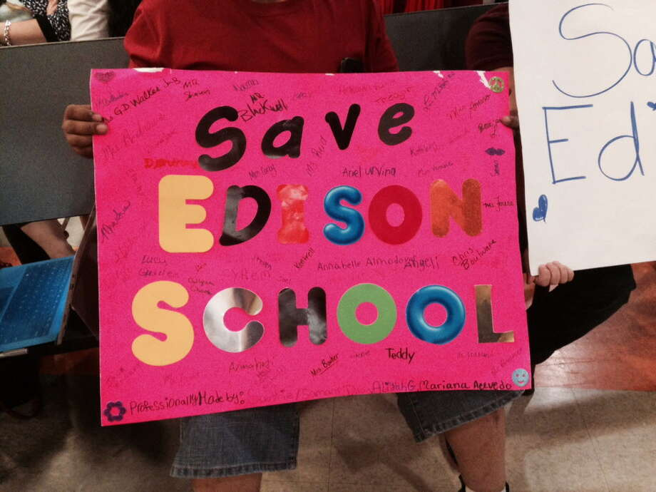 Edison parents brought signs carrying their message to the Bridgeport School Board on Monday, April 25, 2016 Photo: Linda C Lambeck / Linda Lambeck