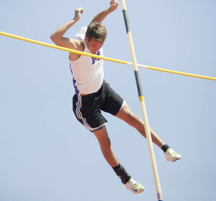 Chase Jones competes in the pole vault Thursday during the 3-5A Track and Field Championships at Memorial Stadium. Cindeka Nealy/Reporter-Telegram Photo: Cindeka Nealy