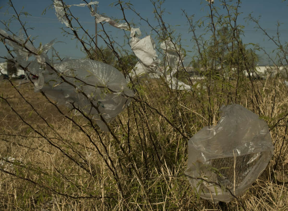 Plastic bags gets stuck on the mesquite thorns all over town, like on this small brush in a field off Main Street near Scharbauer Drive. Tim Fischer\Reporter-Telegram