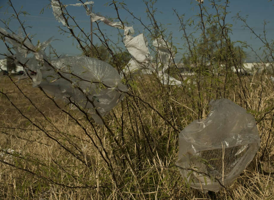 Plastic bags gets stuck on the mesquite thorns all over town, like on this small brush in a field off Main Street near Scharbauer Drive. Tim Fischer\Reporter-Telegram Photo: Tim Fischer