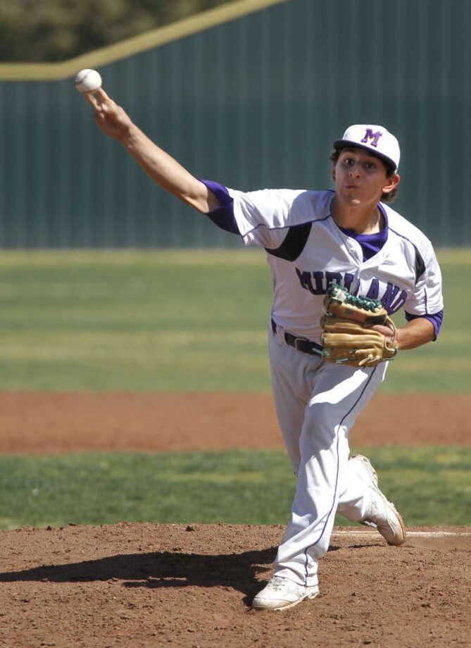 Midland High's Alex Mata pitches against Lubbock Coronado on Saturday at Zachery Field. James Durbin/Reporter-Telegram Photo: JAMES DURBIN