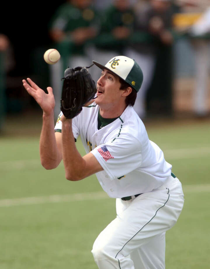 Midland College pitcher Jason Zgardowski catches a high bunt from El Paso Friday at Christensen Stadium. James Durbin/Reporter-Telegram Photo: JAMES DURBIN