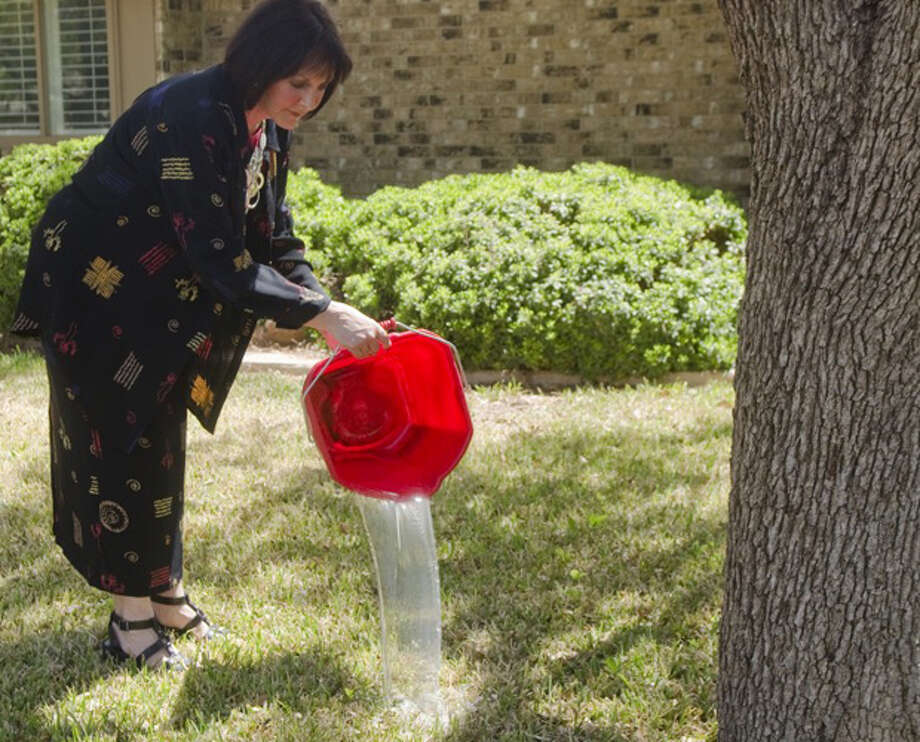 Celia Page dumps recycled water for her trees in the front yard from dish water and collected shower water. Photo by Tim Fischer/Midland Reporter-Telegram Photo: Tim Fischer