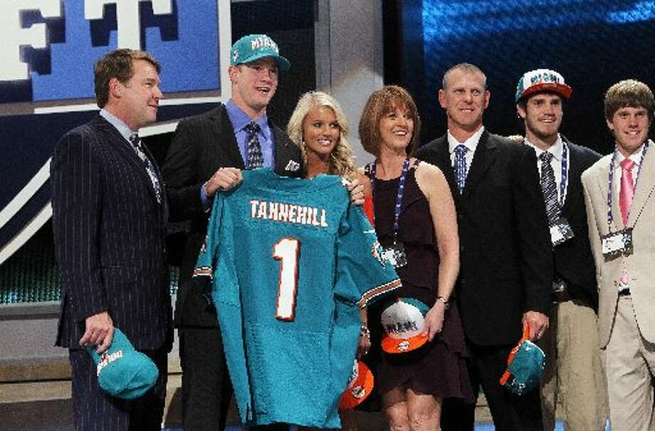 Jason DeCrow/APBig Spring grad Ryan Tannehill poses for photographs with loved ones after being selected as the eighth overall pick by the Miami Dolphins in the first round of the NFL draft on Thursday at Radio City Music Hall in New York.