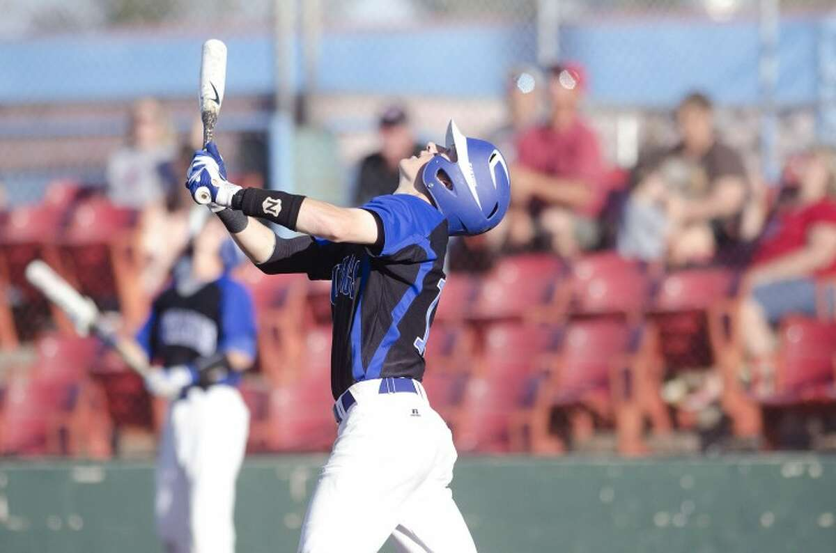Midland Christian's Daniel Crooks leads off with a double Friday during the first round of their TAPPS 4A baseball series against San Antonio Christian at Christensen Stadium. Cindeka Nealy/Reporter-Telegram