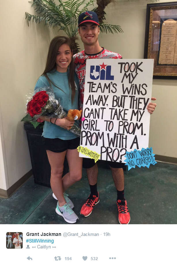 Katy High School baseball player Grant Jackman incorporated the UIL ruling against his team into his promposal. Photo: Twitter