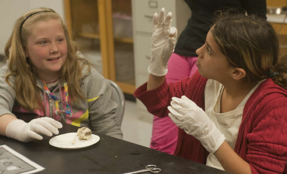 Mystery Trolinder examines a sheep eye lens as fellow Scharbauer Elementary student Brayleigh Houser looks Wednesday during Lee Lab Day at LHS. Tim Fischer\Reporter-Telegram Photo: Tim Fischer