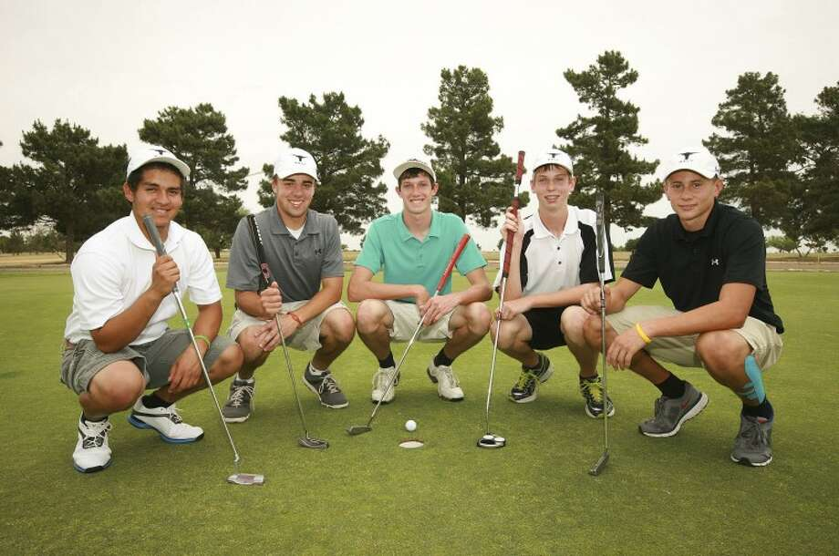 Big Spring High School golfers Jason Guevara, from left, Ryan Pollard, Tate Kennedy, Tyler Bryan and Devin Roberson are heading to Austin for the 3-A State Golf Tournament. Cindeka Nealy/Reporter-Telegram Photo: Cindeka Nealy