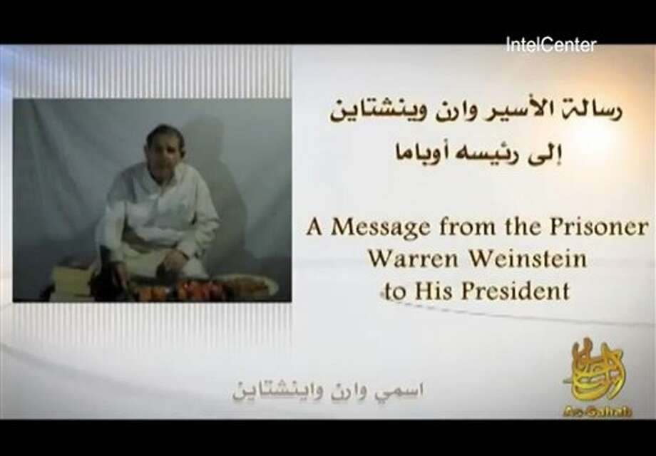 In an image provided by IntelCenter a still from the video released Sunday by al-Qaida of American hostage Warren Weinstein Weinstein said said he will be killed unless President Barack Obama agrees to the militant group's demands. (AP Photo/IntelCenter) Mandatory Credit No Sales Photo: HONS / IntelCenter
