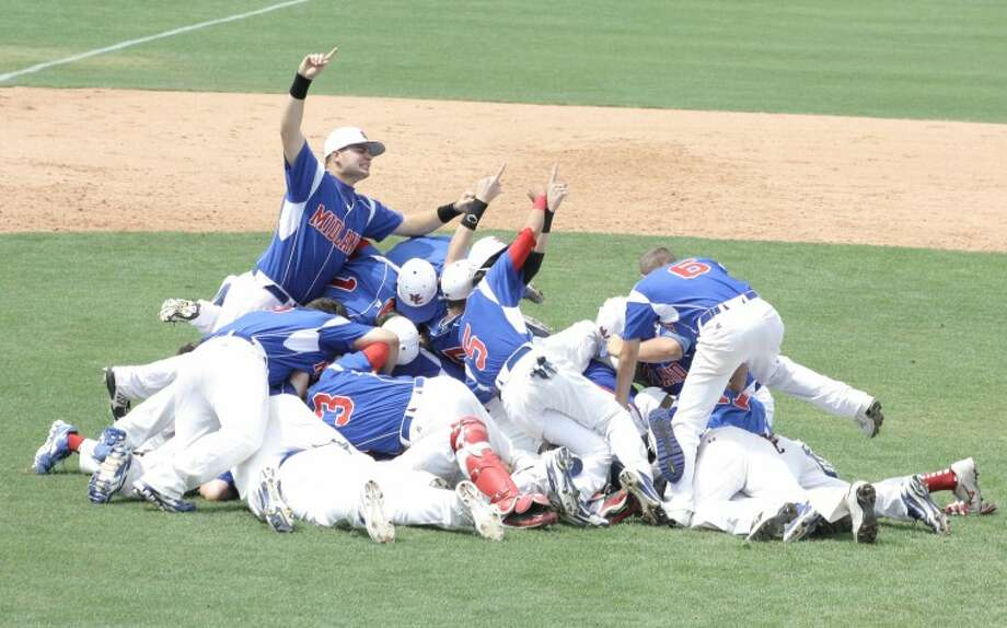 Midland Christian players celebrate after winning the TAPPS 4A State Baseball Championship at Red Murff Field in Belton. The Mustangs won 1-0 against TAPPS 1-4A rival Fort Worth Christian. Courtesy Photo
