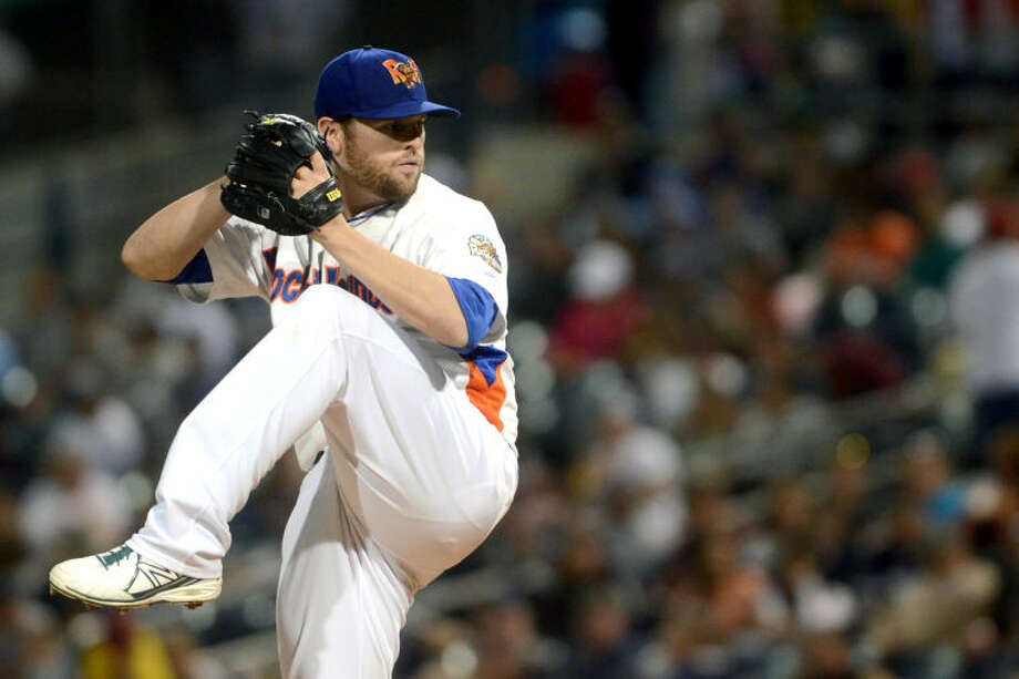 Zach Neal pitches during the RockHounds home opener against North Arkansas Thursday at Citibank Ballpark. James Durbin/Reporter-Telegram Photo: JAMES DURBIN