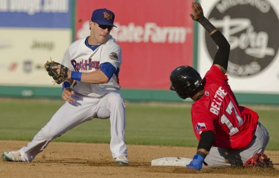 Frisco's Engel Beltre safely steals second as Rockhounds' Dusty Coleman is late with the tag Thursday evening at CitiBank Ballpark. Photo by Tim Fischer/Midland Reporter-Telegram Photo: Tim Fischer