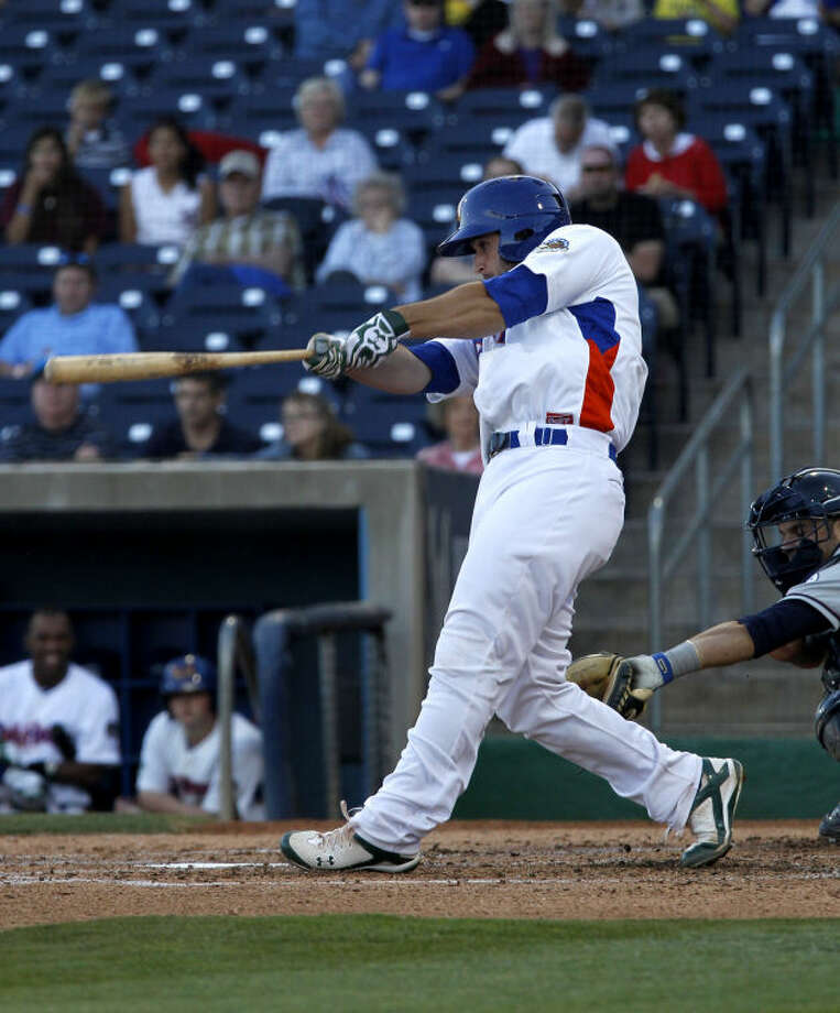 RockHounds' David Freitas hits against Northwest Arkansas Friday at Citibank Ballpark. James Durbin/Reporter-Telegram Photo: JAMES DURBIN