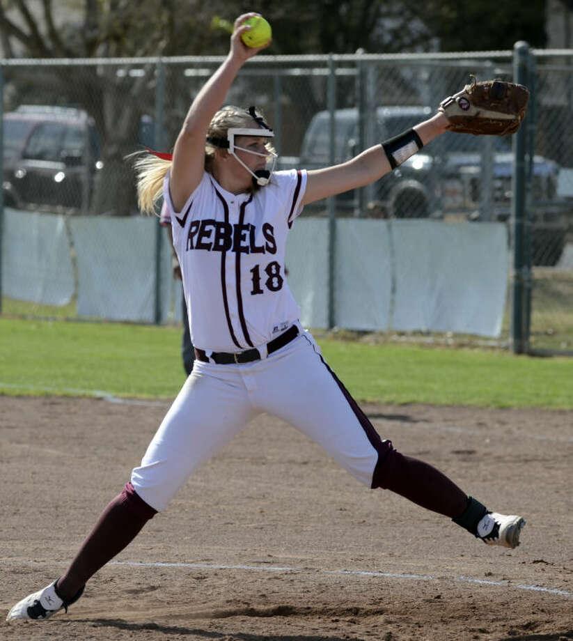 Lee senior Emily Hardaway was a 2-5A first team selection as a pitcher. Tim Fischer\Reporter-Telegram Photo: Tim Fischer
