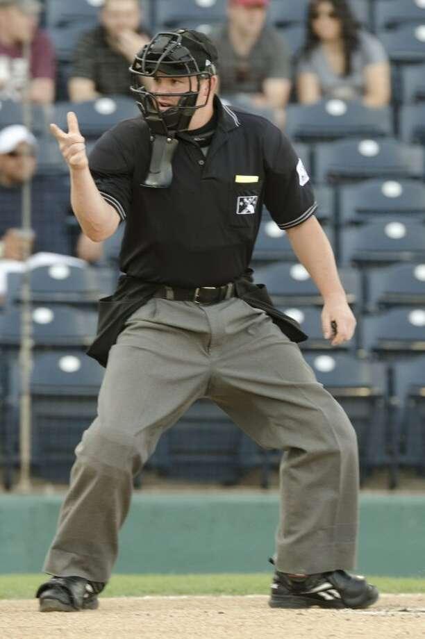 Umpire Nick Bailey calls a strike Thursday night at CitiBank Ballpark. Photo by Tim Fischer/Midland Reporter-Telegram Photo: Tim Fischer