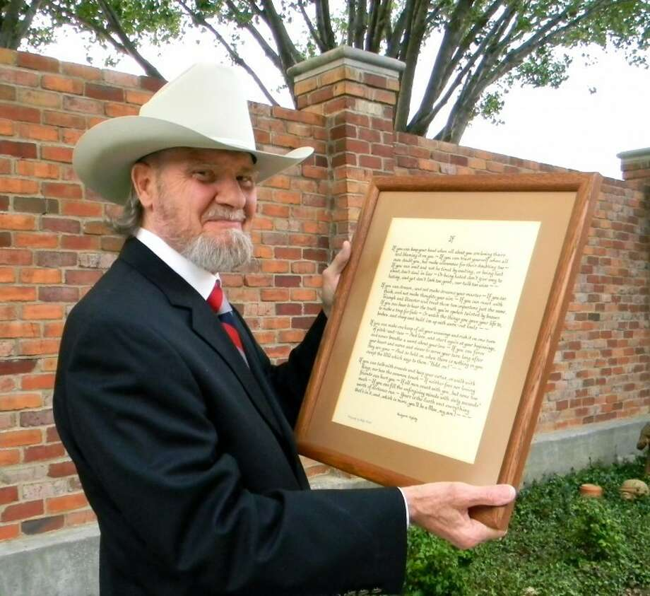 "J. Rodney Short holds a framed copy of Rudyard Kipling's poem, ""If."" Photo: Sally Vaughn"