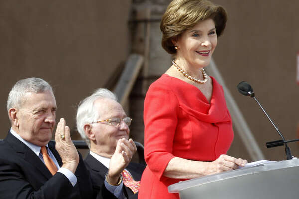 Former First Lady Laura Bush speaks on Saturday during the ribbon cutting ceremony for the new Midland County Public Library Centennial branch. James Durbin/Reporter-Telegram
