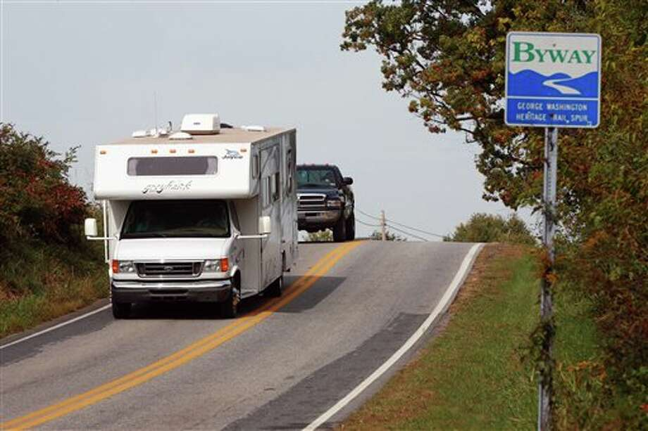 This undated image from Go RVing shows a motorhome on the George Washington Heritage Trail spur in the Eastern Panhandle of West Virginia. Fluctuations in gas prices don't keep RV drivers home, though when prices are high, they may travel less and stay closer to home. (AP Photo/Go RVing) / Go RVing