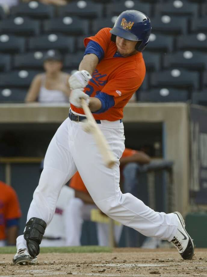 RockHounds' Anthony Aliotti connects for a hit Monday evening against Tulsa Drillers at CitiBank Ballpark. Photo by Tim Fischer/Midland Reporter-Telegram Photo: Tim Fischer