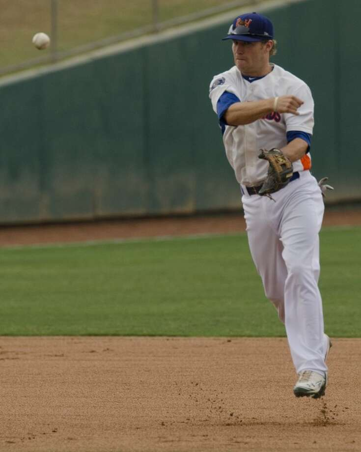 RockHounds' shortstop Dusty Coleman throws a fielded groundbr to first for an out on June 14 against San Antonio Mission at CitiBank Ballpark. Photo by Tim Fischer/Midland Reporter-Telegram Photo: Tim Fischer