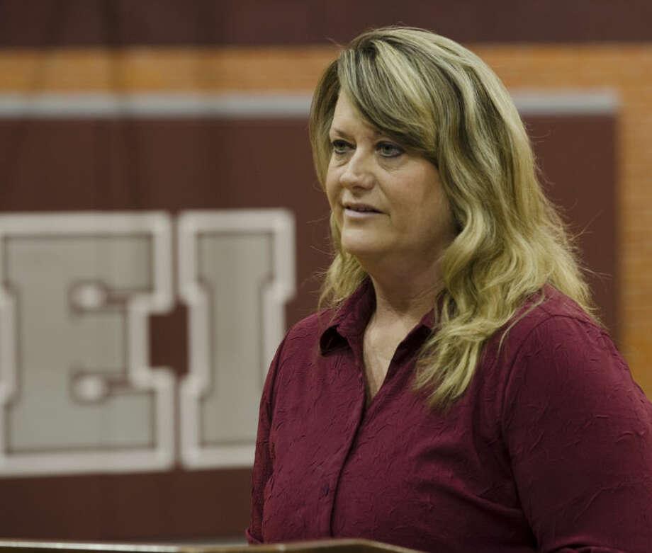 Lee High new volleyball coach Daphne Rhoads talks to students and supporters Thursday morning at LHS. Tim Fischer\Reporter-Telegram Photo: Tim Fischer