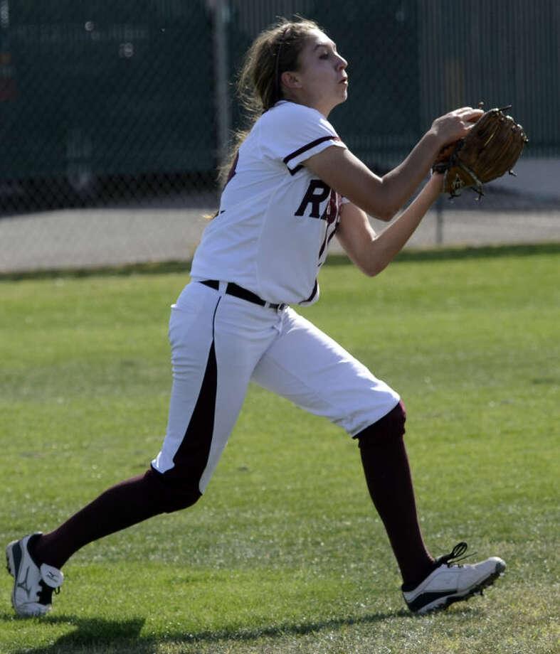Lee High's Kylie Herring pulls in a pop fly Friday against Odessa High at Gene Smith Field. Tim Fischer\Reporter-Telegram Photo: Tim Fischer