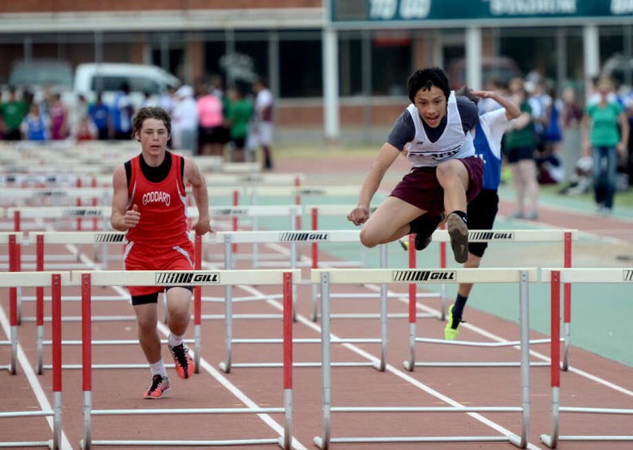 Junior High track meet hurdling events Friday at Memorial Stadium. James Durbin/Reporter-Telegram Photo: JAMES DURBIN