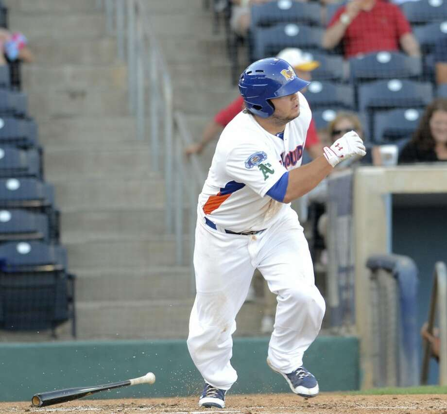 Miles Head gets a hit and heads to first Saturday during the RockHounds game against the Arkansas Travelers at Citibank Ballpark. Cindeka Nealy/Reporter-Telegram Photo: Cindeka Nealy