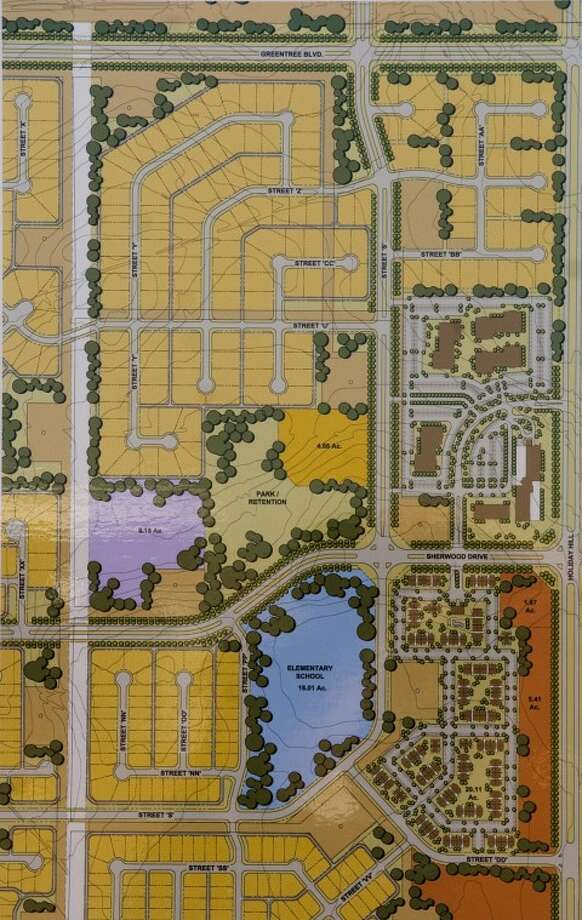 Preliminary drawing of part of the planned community incorporated in the developement of the new Fasken Oil and Ranch corporate headquarters to be built off N. Holiday Hill Road. Photo by Tim Fischer/Midland Reporter-Telegram Photo: Tim Fischer