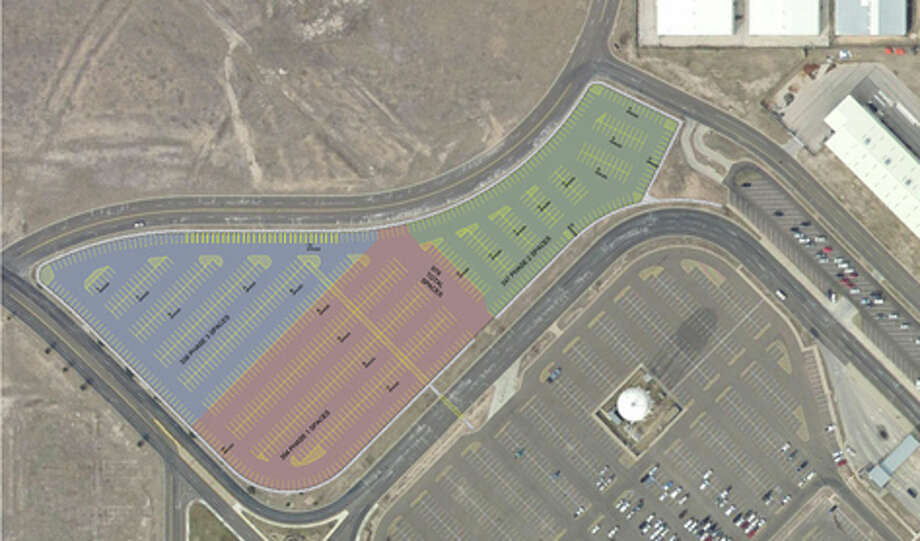 The area shaded in green on this map shows where the 200 additional parking spots are being proposed at Midland International Airport.