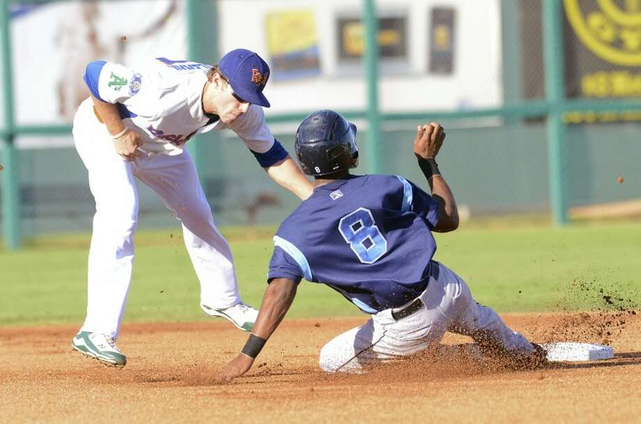 RockHounds short stop Dusty Coleman tags Corpus Christi's Austin Wates out as he attempts to steal second Thursday during their game against the Corpus Christi Hooks at Citibank Ballpark. Cindeka Nealy/Reporter-Telegram Photo: Cindeka Nealy