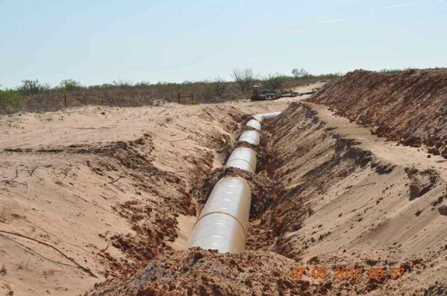 A file photo of a water pipeline in Midland County.