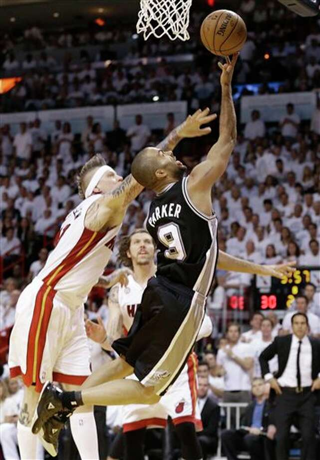 Miami Heat's Chris Andersen (11) defends against San Antonio Spurs' Tony Parker (9) during the first half in Game 7 of the NBA basketball championships, Thursday, June 20, 2013, in Miami. (AP Photo/Lynne Sladky) Photo: Lynne Sladky / AP2013