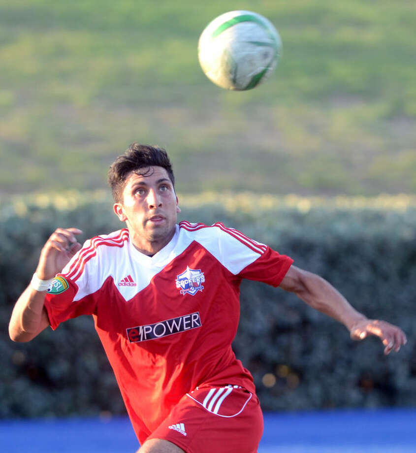 Sockers FC David Gonzalez chases down a loose ball during the game against Laredo on Thursday at Grande Communications Stadium. James Durbin/Reporter-Telegram Photo: JAMES DURBIN
